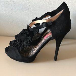 Betsey Johnson Black Suede Ruffle Stiletto Size 9M